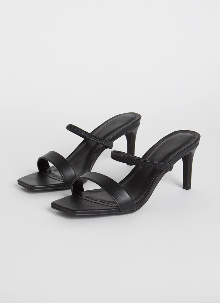 My Strappy Ever After Slip-On Heels BLACK