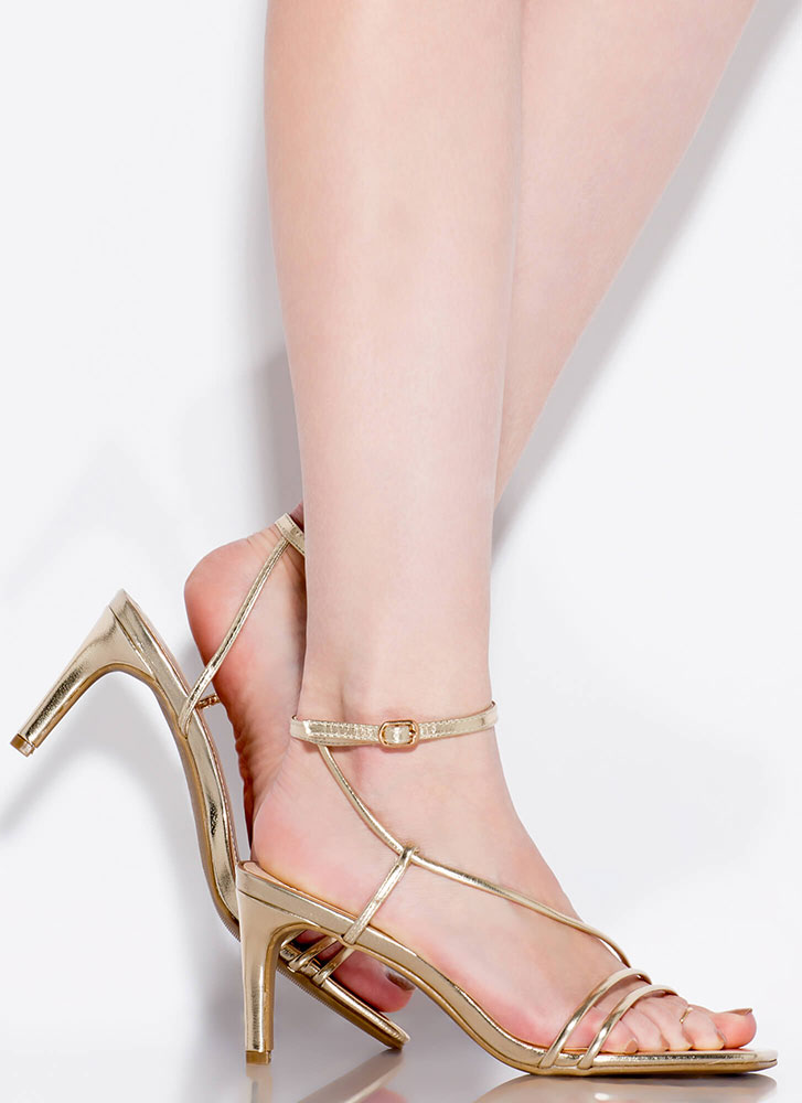 Strappy And You Know It Metallic Heels GOLD