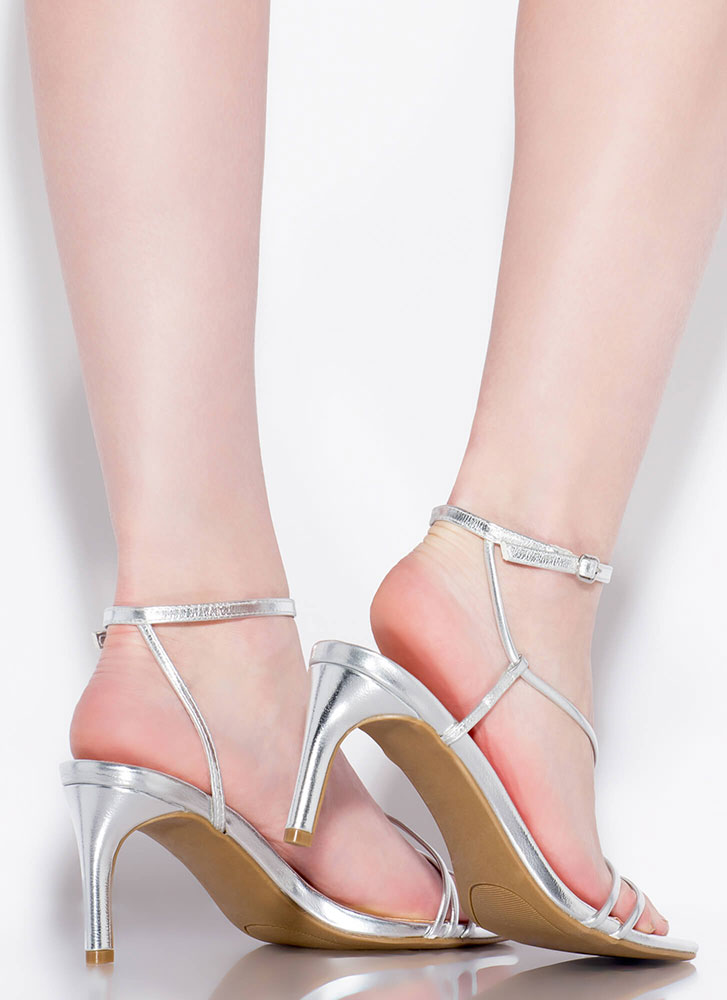 Strappy And You Know It Metallic Heels SILVER