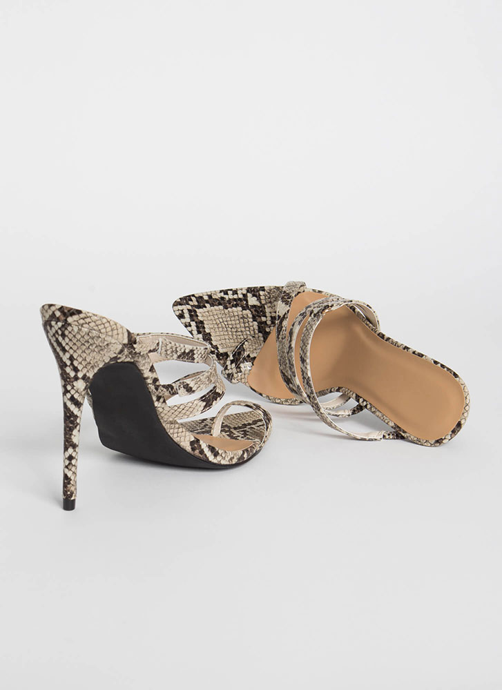 Strappy To See Me Pointy Snake Heels BEIGE