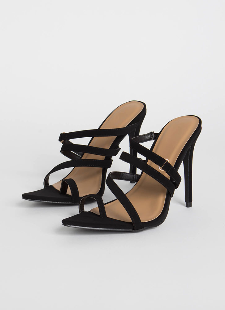 Strappy To See Me Pointy Slip-On Heels BLACK