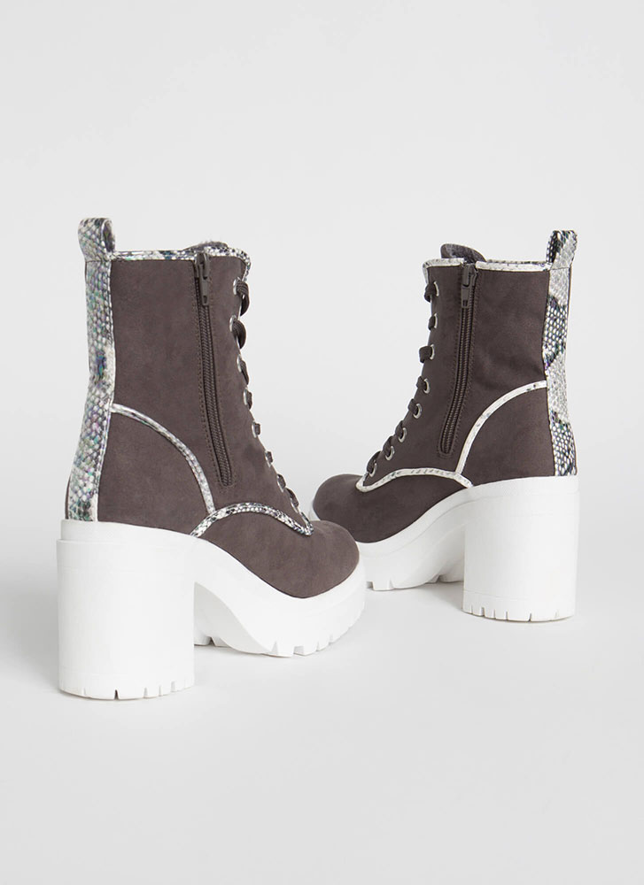 Block And Roll Chunky Lace-Up Booties GREY