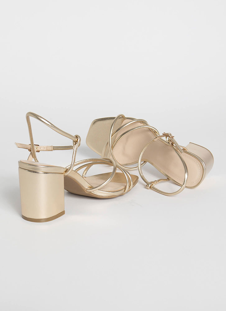 Forever Strappy Chunky Metallic Heels GOLD (Final Sale)