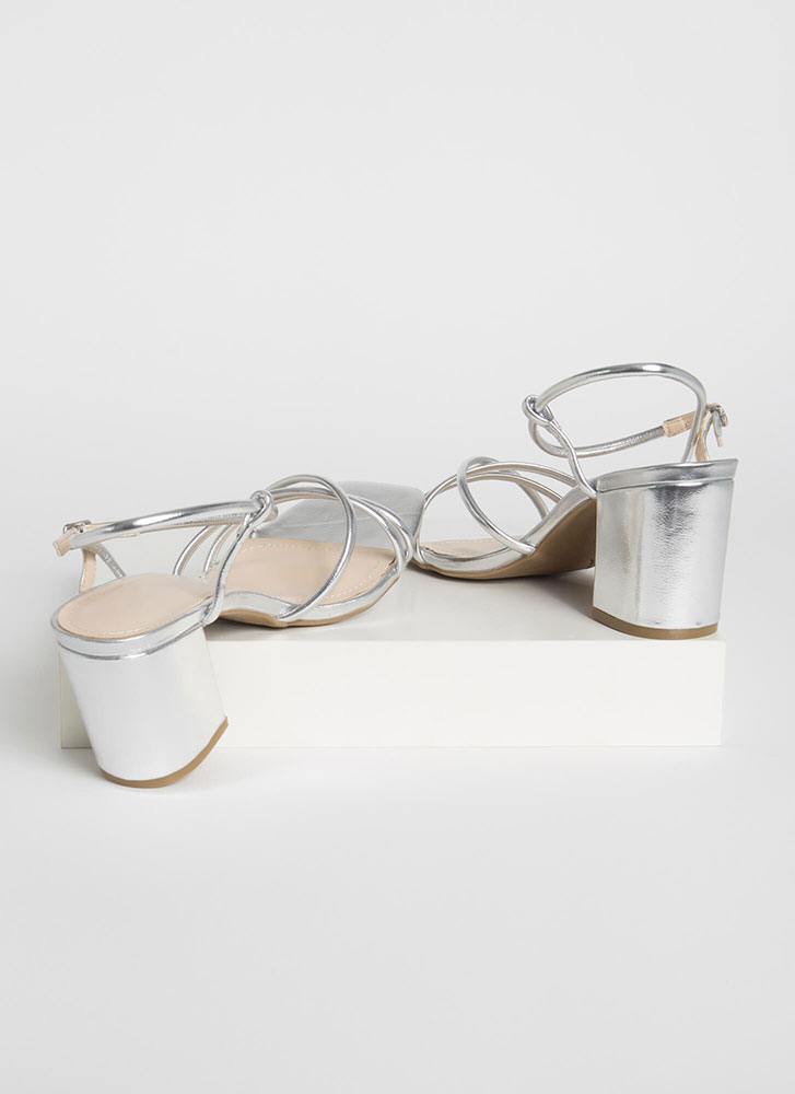 Forever Strappy Chunky Metallic Heels SILVER (Final Sale)
