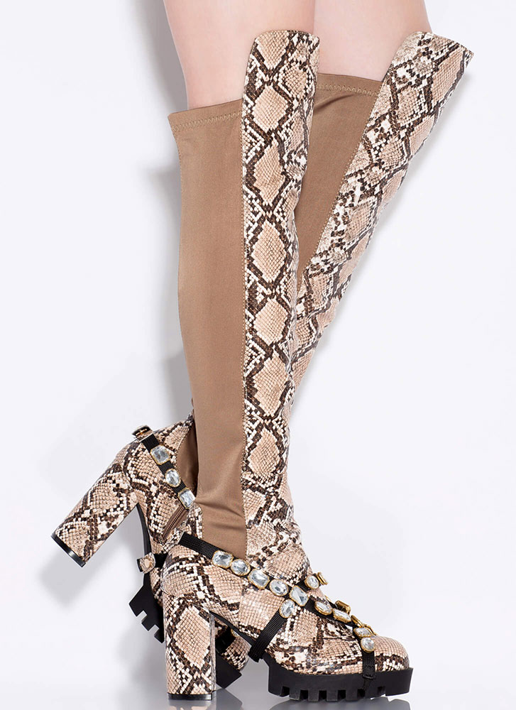 Mood Jewel Strap Thigh-High Snake Boots CAMEL