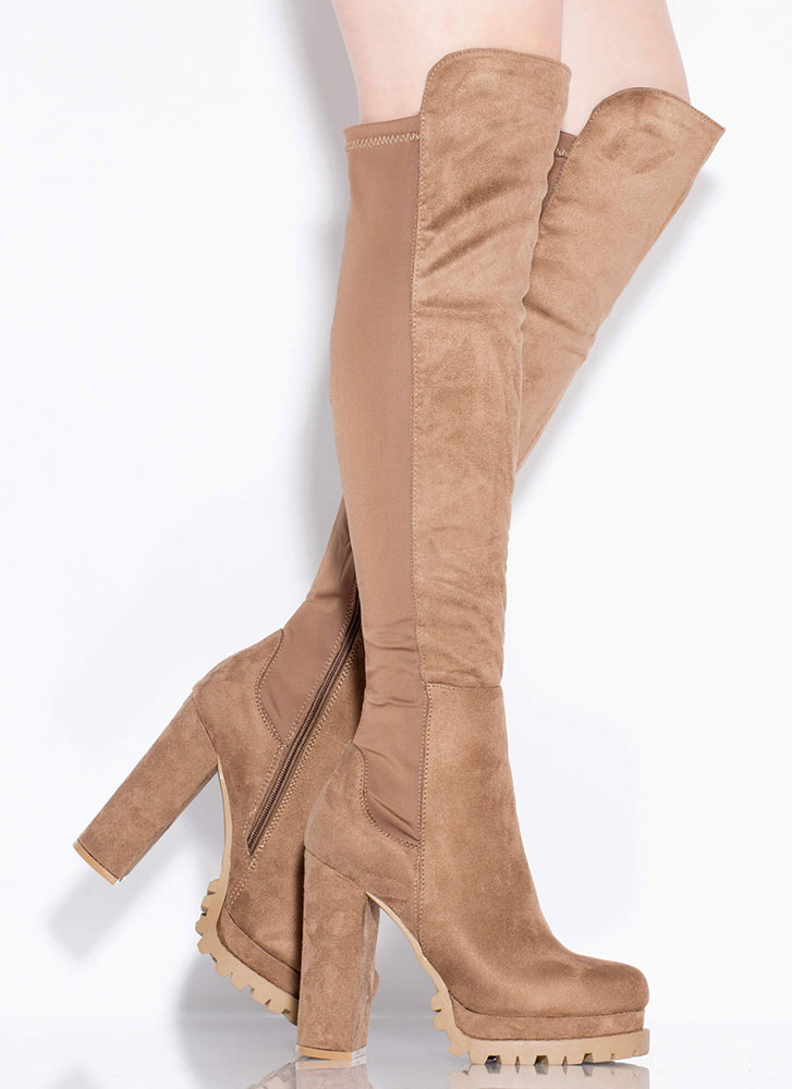 One True Lug Chunky Thigh-High Boots TAUPE