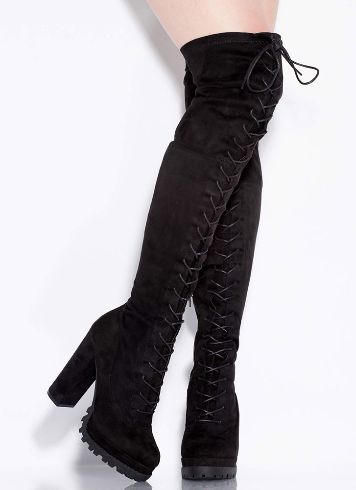 One True Lug Lace-Up Thigh-High Boots BLACK