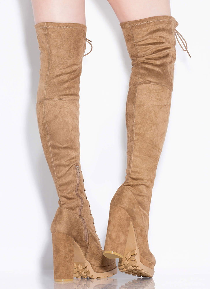 One True Lug Lace-Up Thigh-High Boots TAUPE