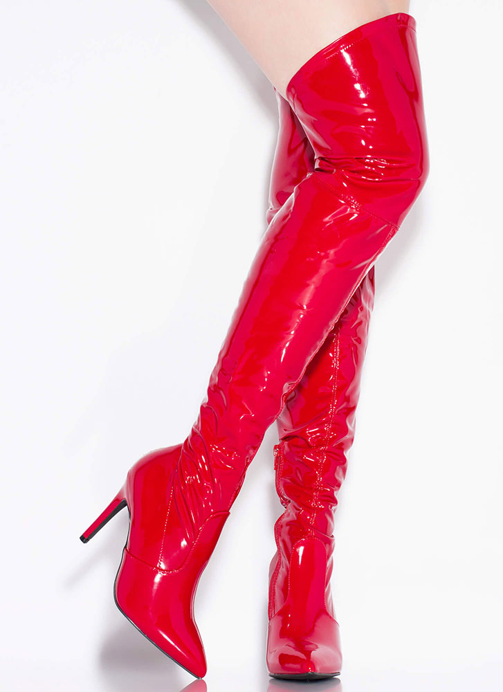 Dominatrix Faux Patent Thigh-High Boots RED