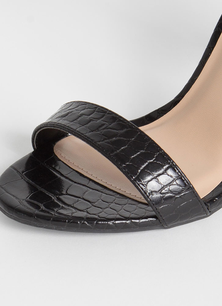 Just My Style Chunky Faux Croc Heels BLACK