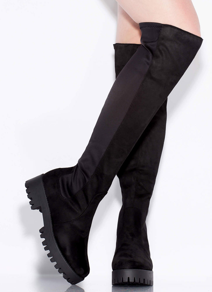 That's Easy Lug Sole Thigh-High Boots BLACK