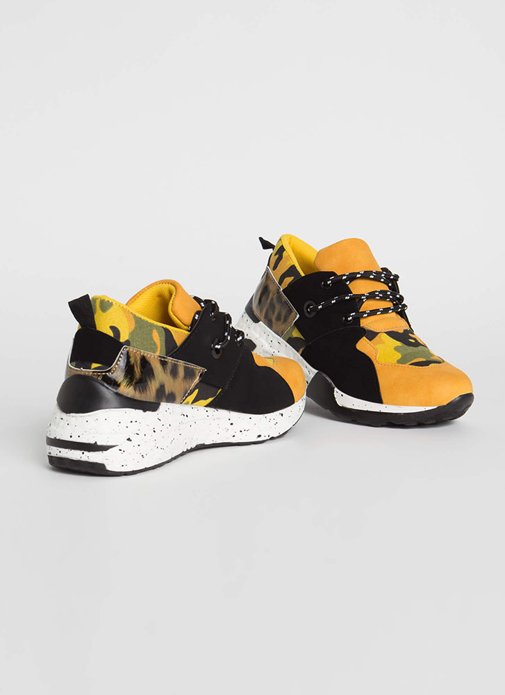 In The Jungle Camo And Leopard Sneakers YELLOW