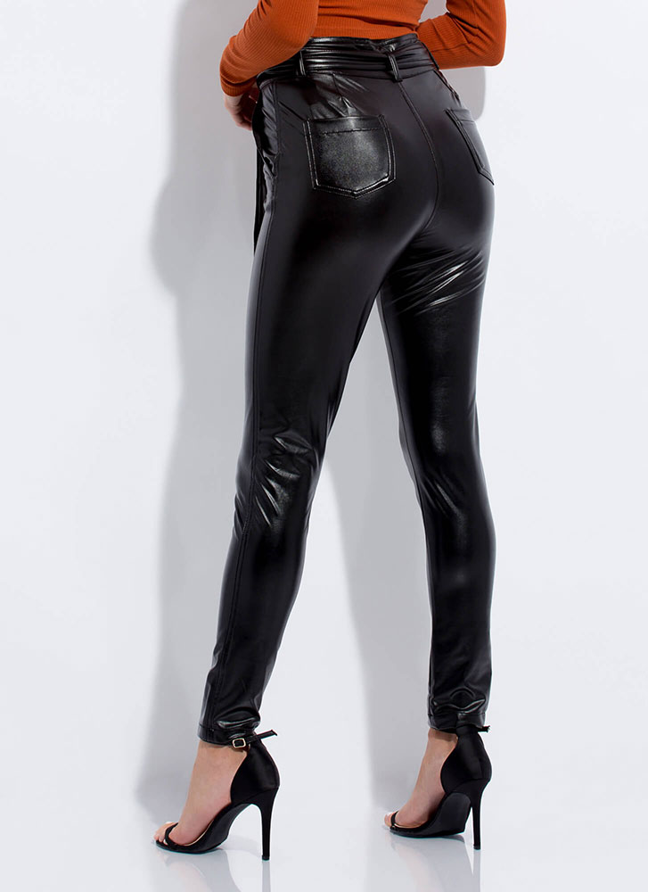 Tied And Seek Faux Leather Pants BLACK