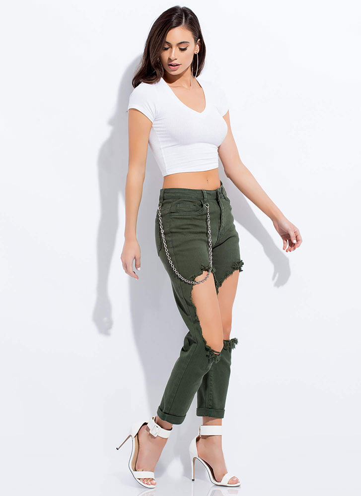 Chain-ge Things Up Cut-Out Jeans GREEN