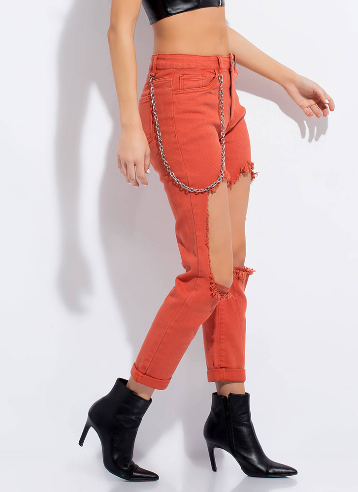 Chain-ge Things Up Cut-Out Jeans RUST