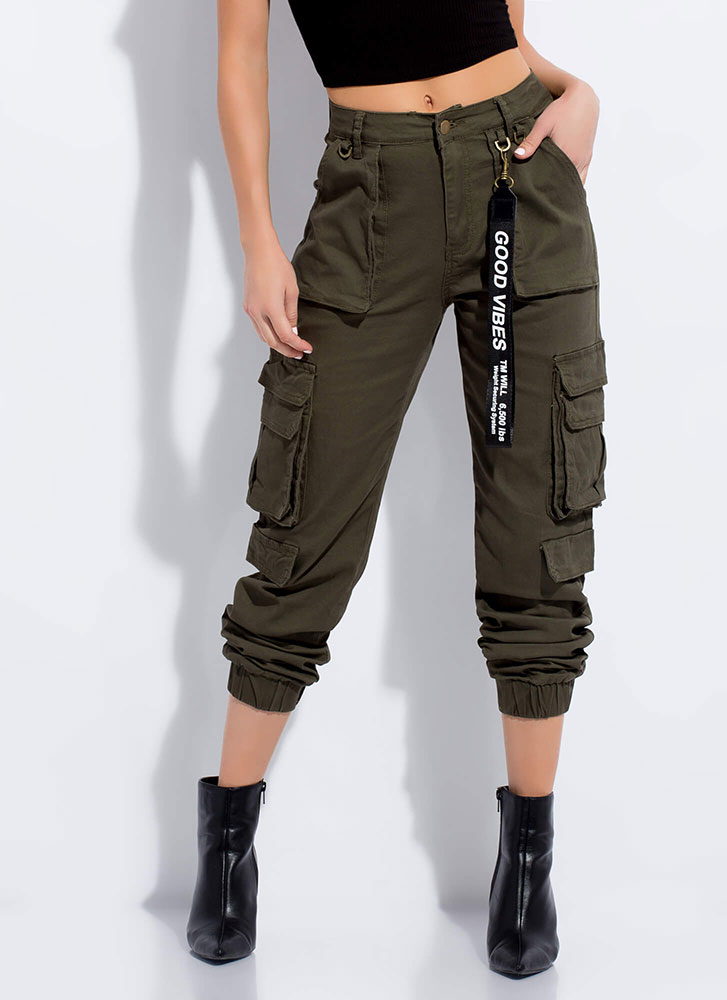 Good Vibes Pocketed Cargo Joggers OLIVE