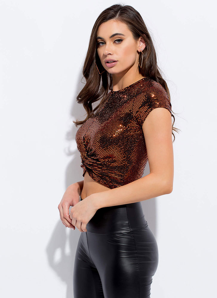 Sequins With A Twist Sparkly Crop Top COPPER