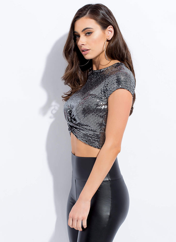Sequins With A Twist Sparkly Crop Top SILVER