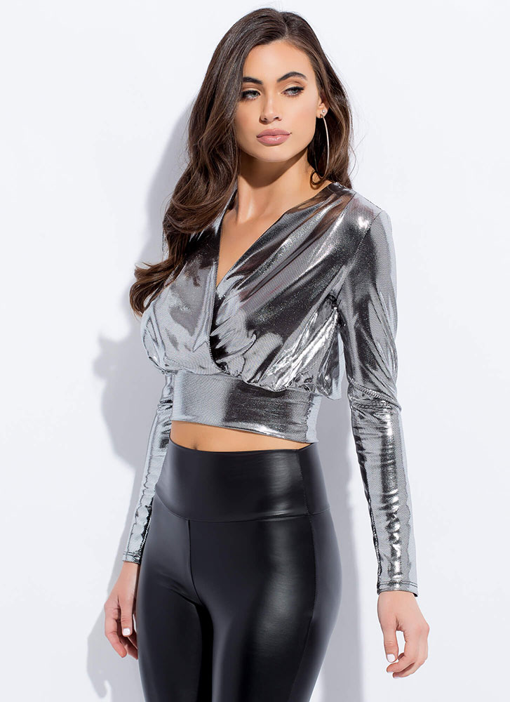 Foil My Fun Metallic Surplice Crop Top SILVER