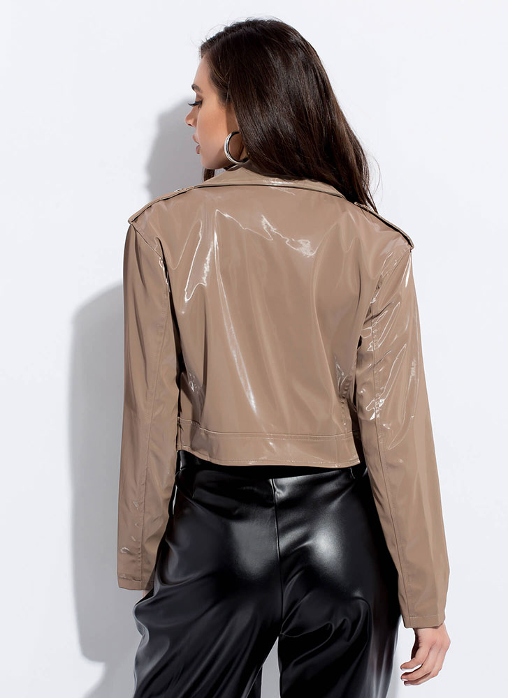 Ride Along Faux Patent Moto Jacket TAUPE