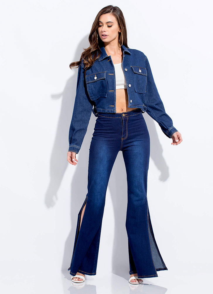 New Classic Cropped Denim Jacket DKBLUE