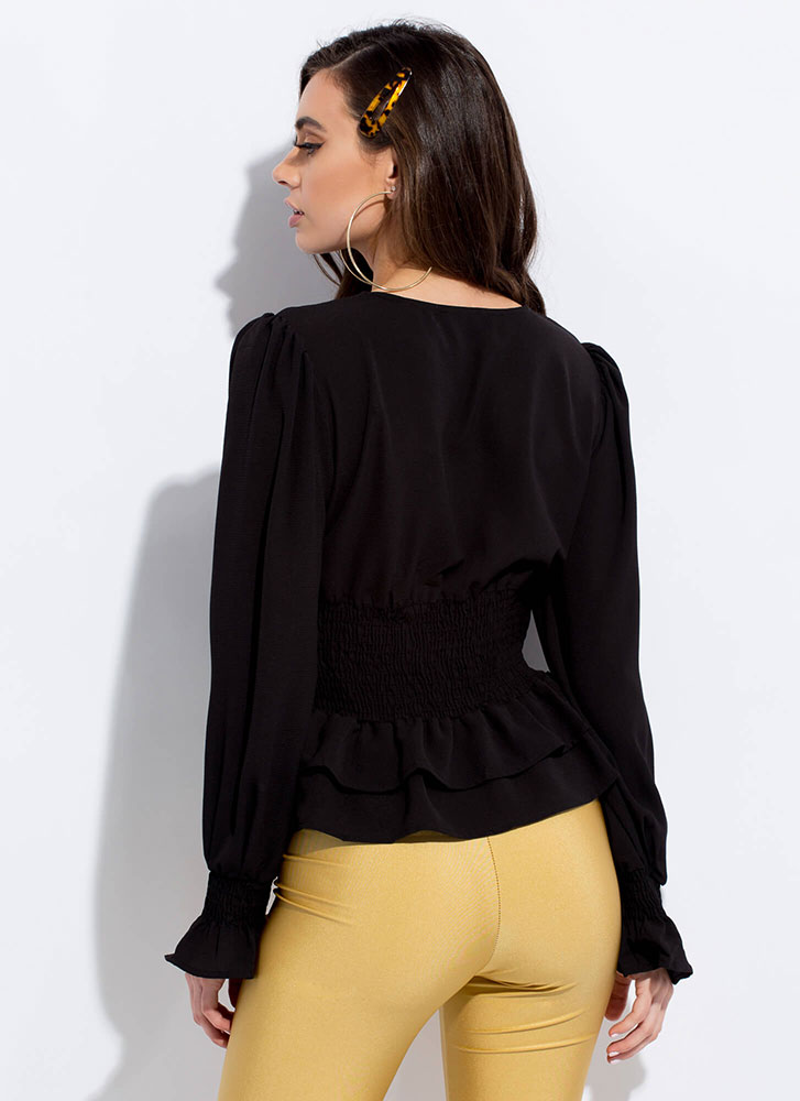 Flare Of Romance Ruffled Peplum Blouse BLACK