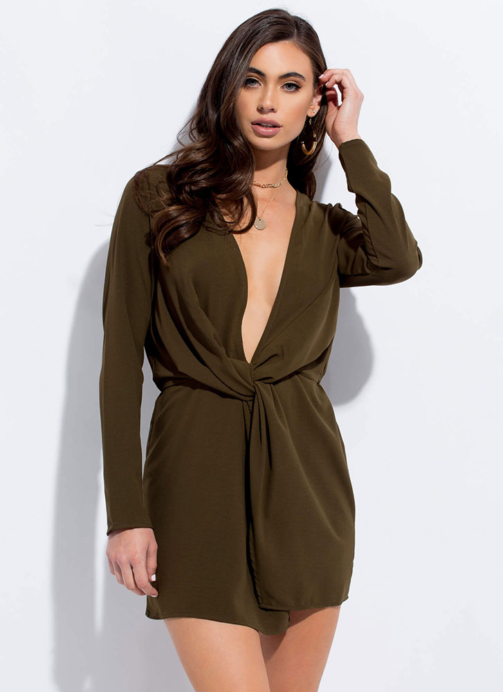 The Big Twist Plunging Minidress OLIVE