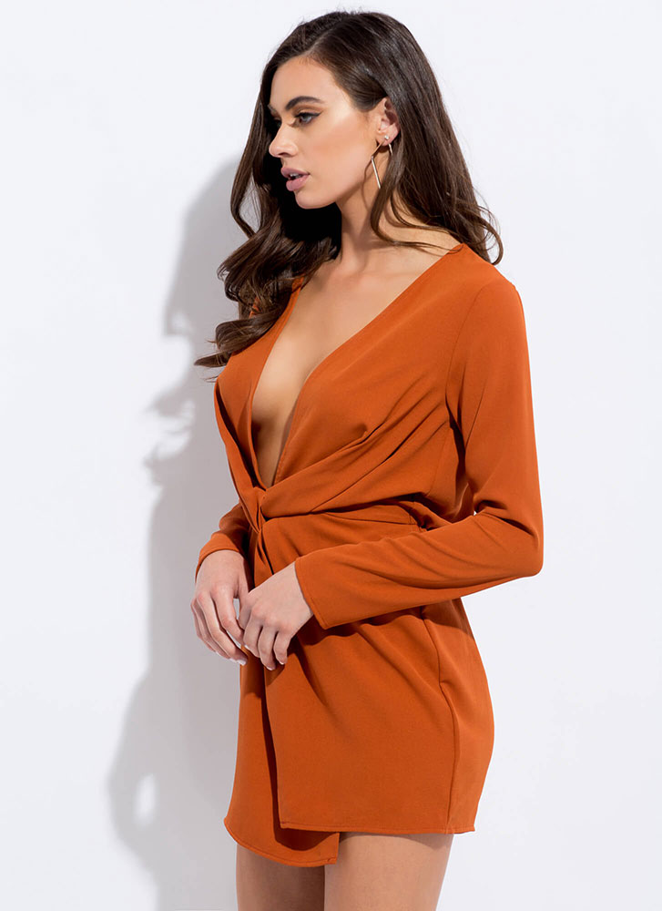 The Big Twist Plunging Minidress RUST