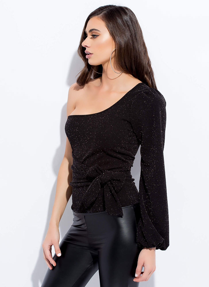 One-Up Sparkly Tied Asymmetrical Top BLACK