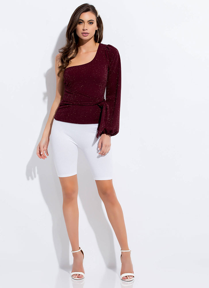 One-Up Sparkly Tied Asymmetrical Top WINE