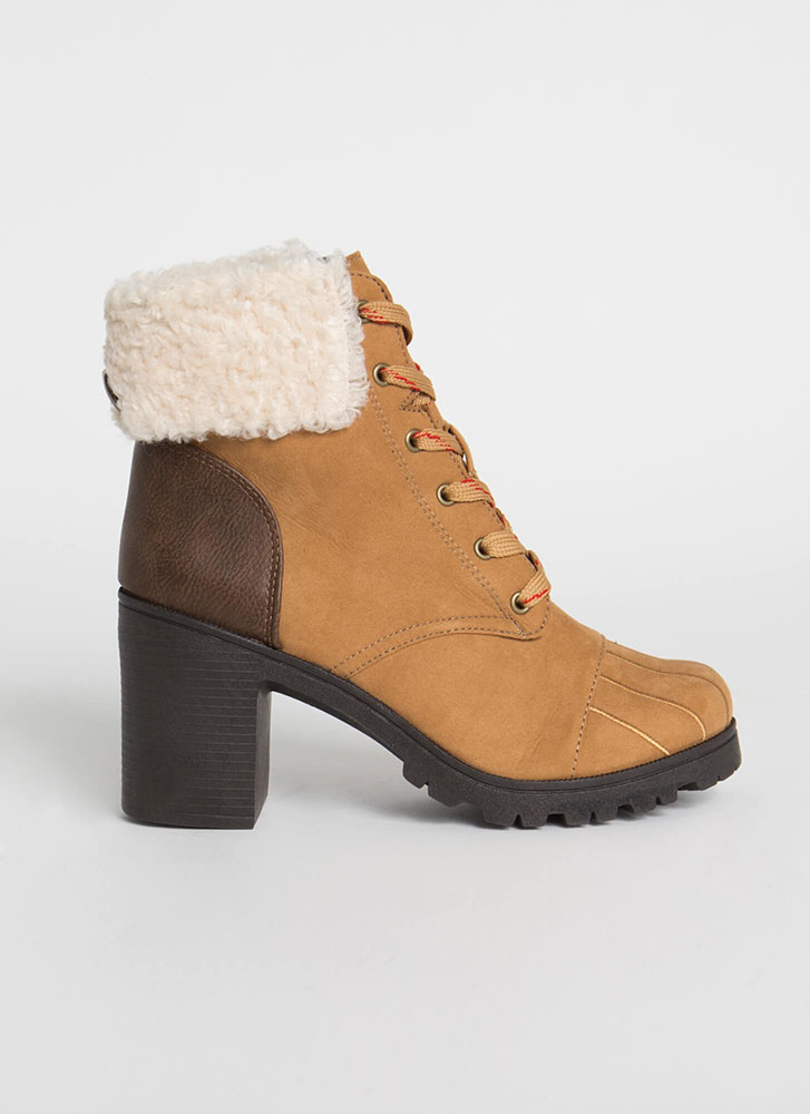 Cozy Up Chunky Faux Shearling Booties CAMEL