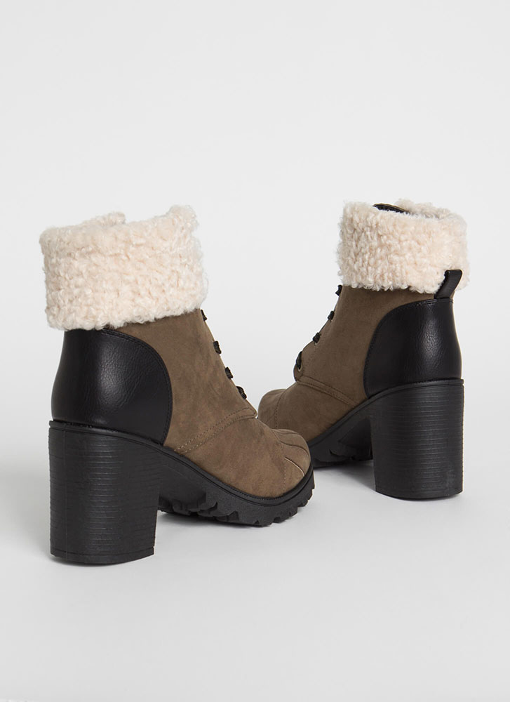 Cozy Up Chunky Faux Shearling Booties KHAKI