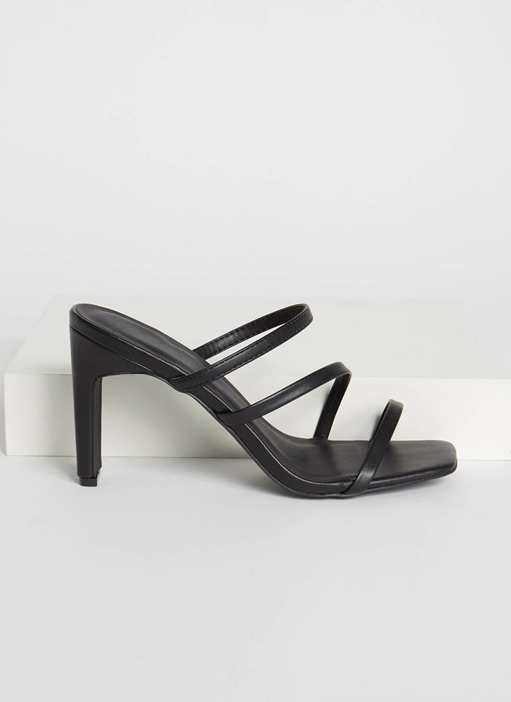 Seconds Flat Strappy Chunky Heels BLACK