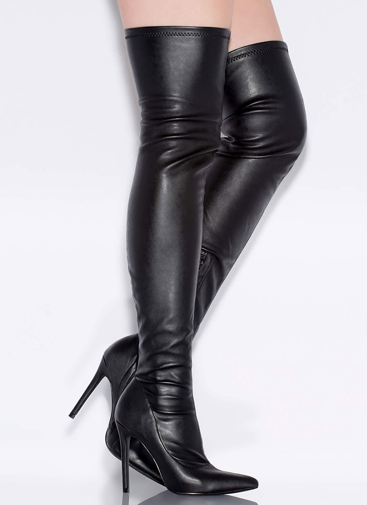 High Point Faux Leather Thigh-High Boots BLACK (Final Sale)