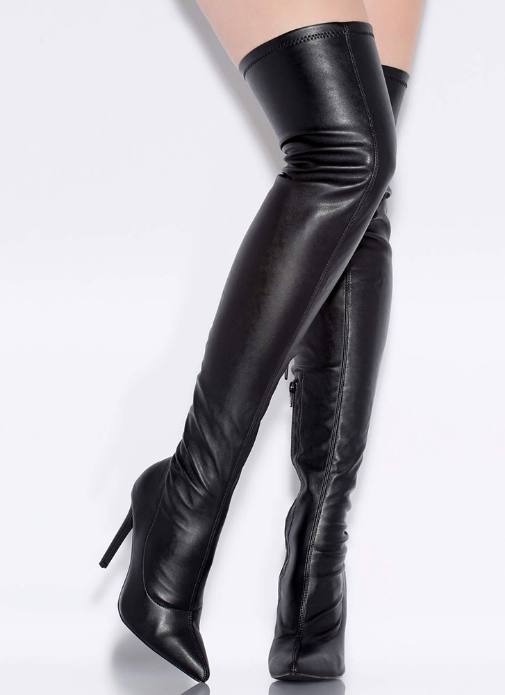 High Point Faux Leather Thigh-High Boots BLACK