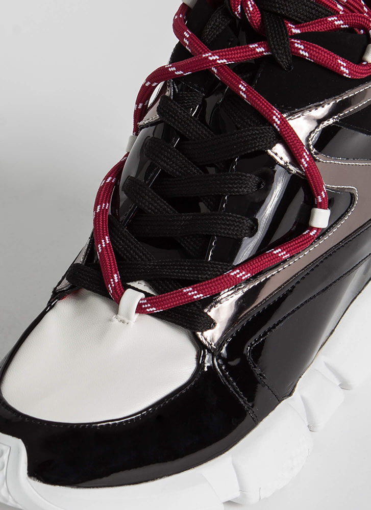 Lace 'Em Up Zigzag Wedge Sneakers BLACK