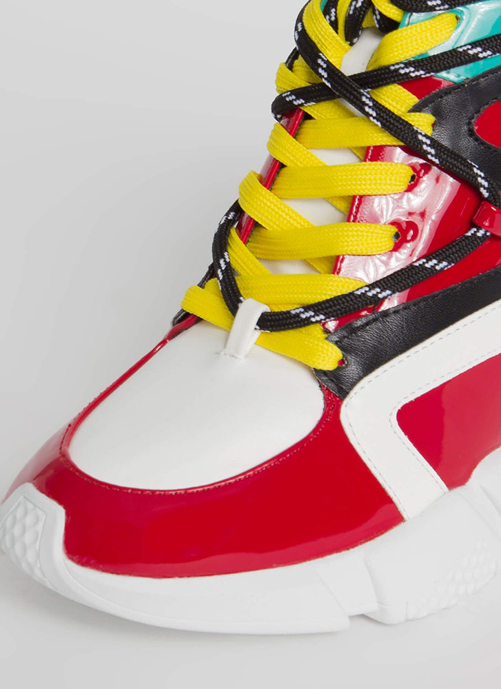 Lace 'Em Up Zigzag Wedge Sneakers RED