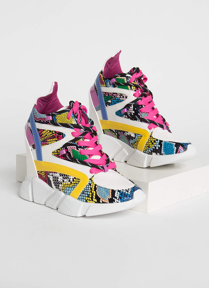 Lace 'Em Up Snake Print Wedge Sneakers MULTI (Final Sale)