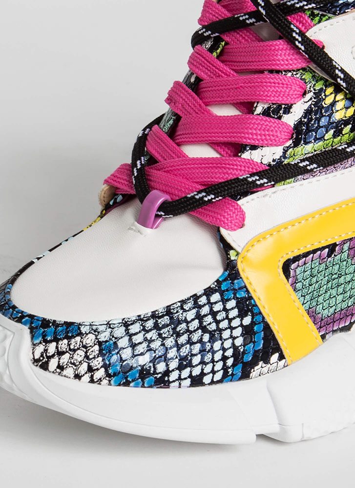 Lace 'Em Up Snake Print Wedge Sneakers MULTI