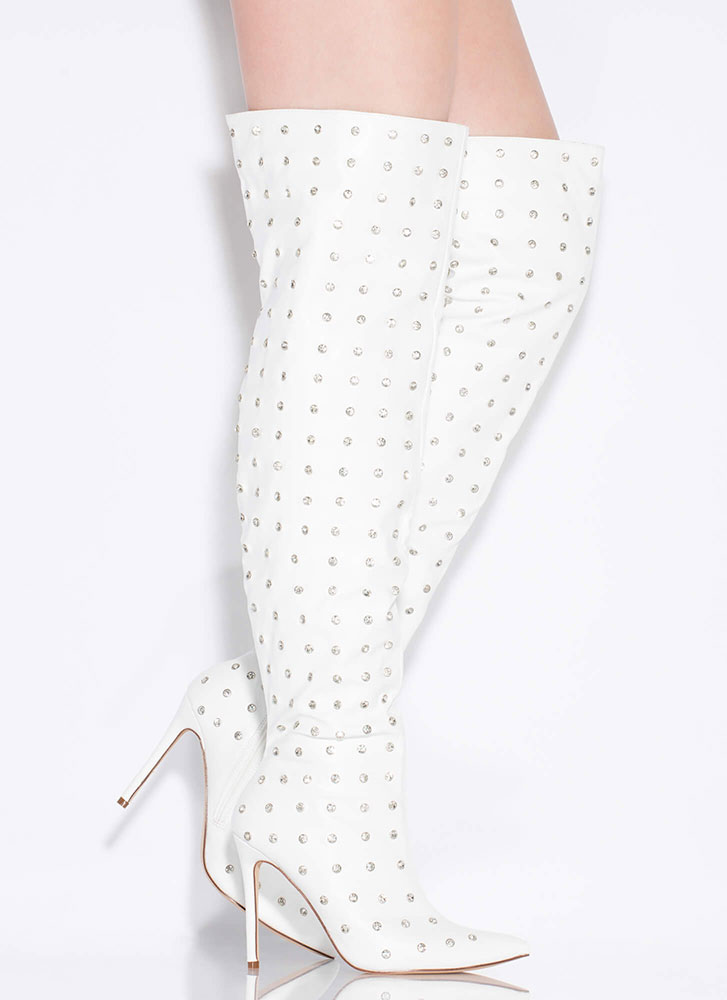 Glam Rock Jewel Stud Thigh-High Boots WHITE