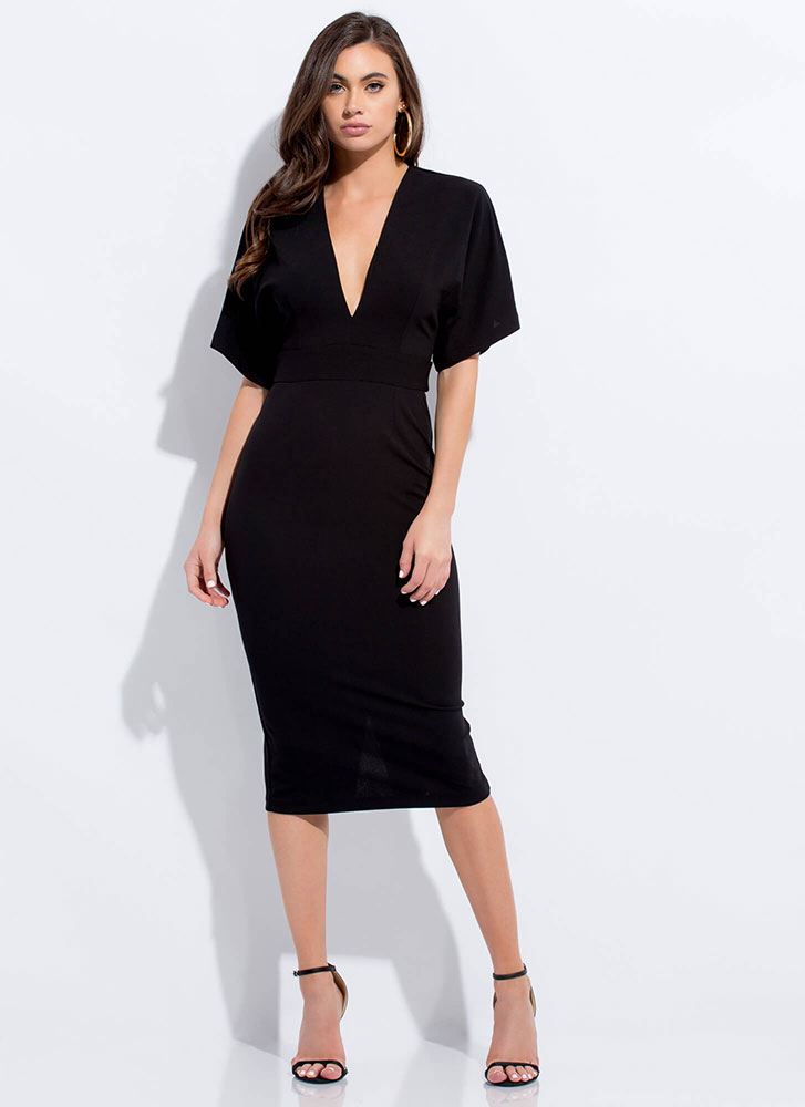 Cut-Out For This Tied Dolman Midi Dress BLACK