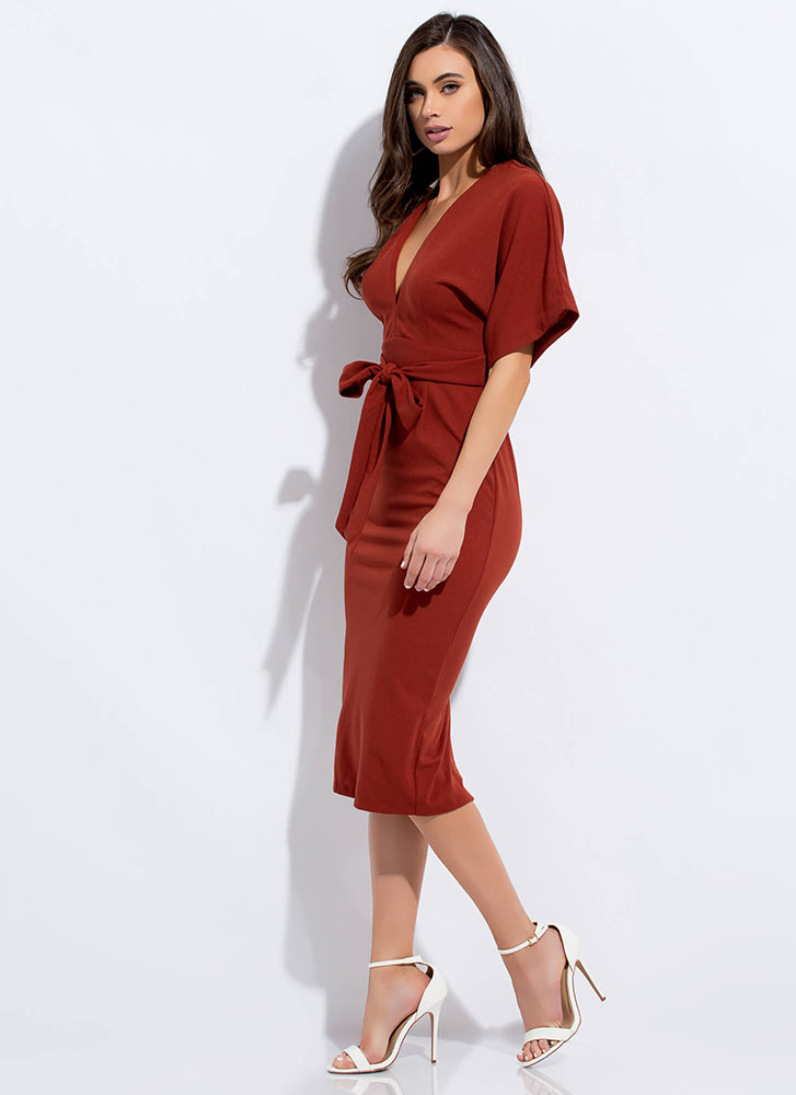 Cut-Out For This Tied Dolman Midi Dress RUST
