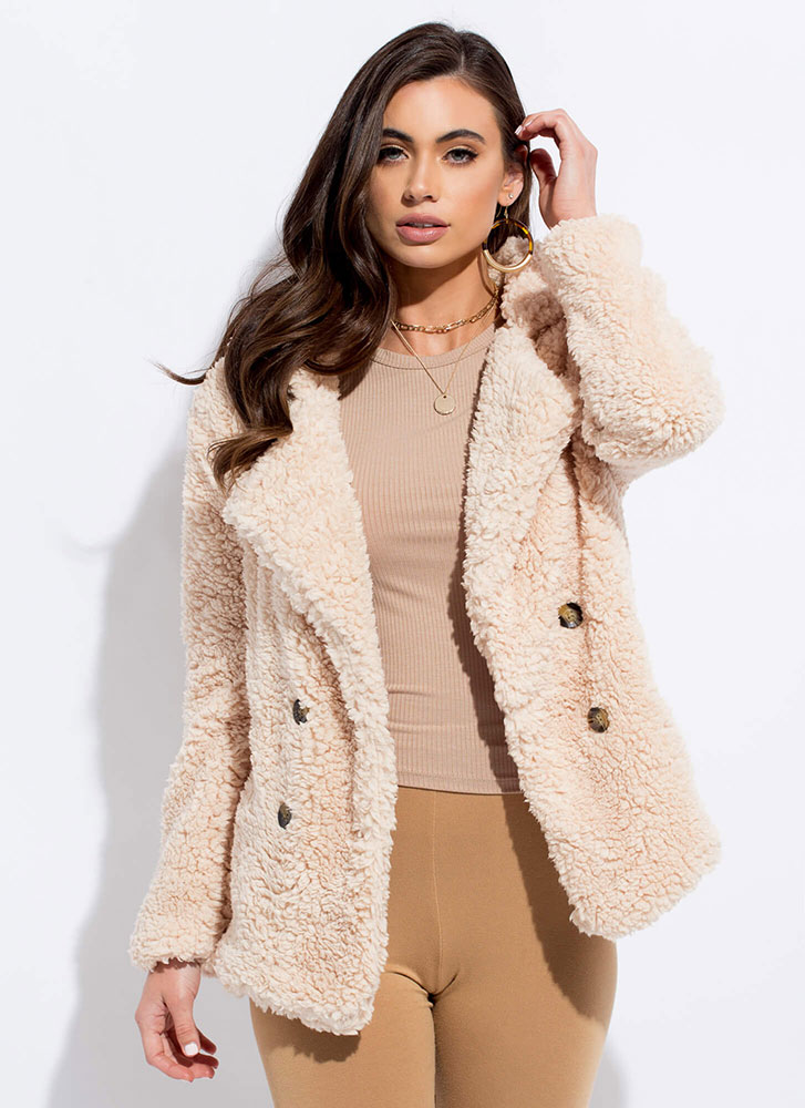 Fur Your Own Good Faux Shearling Coat SAND