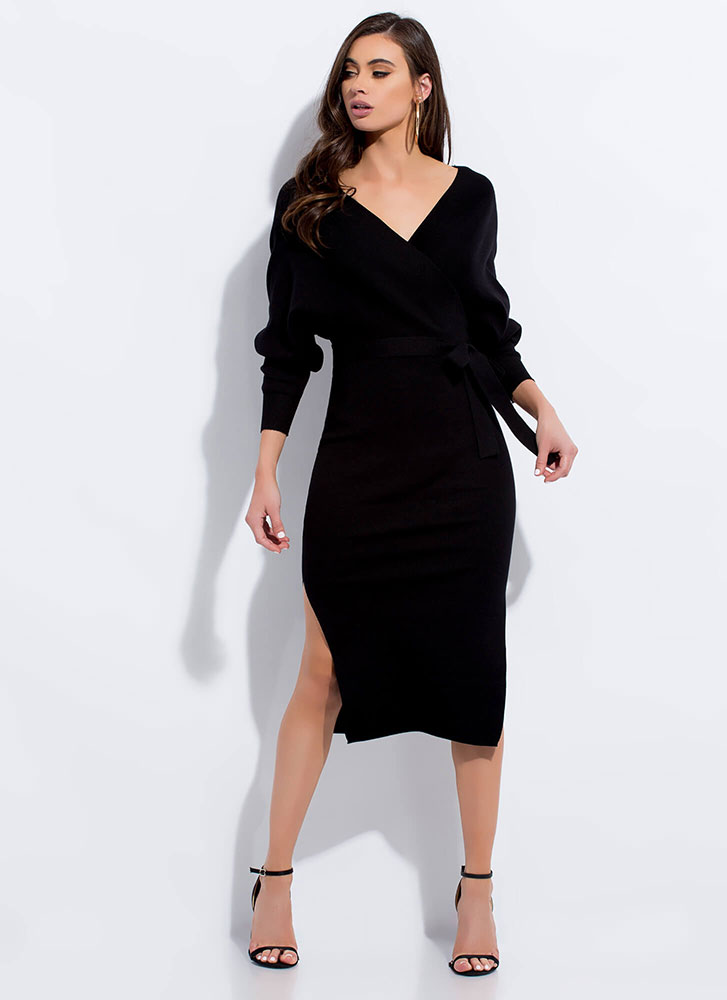 All Wrapped Up Tied Sweater Dress BLACK