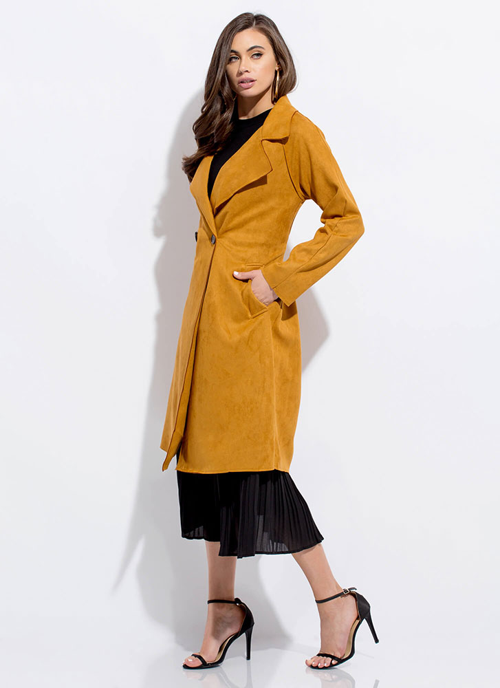 Your Call Faux Suede Trench Coat DKGOLD