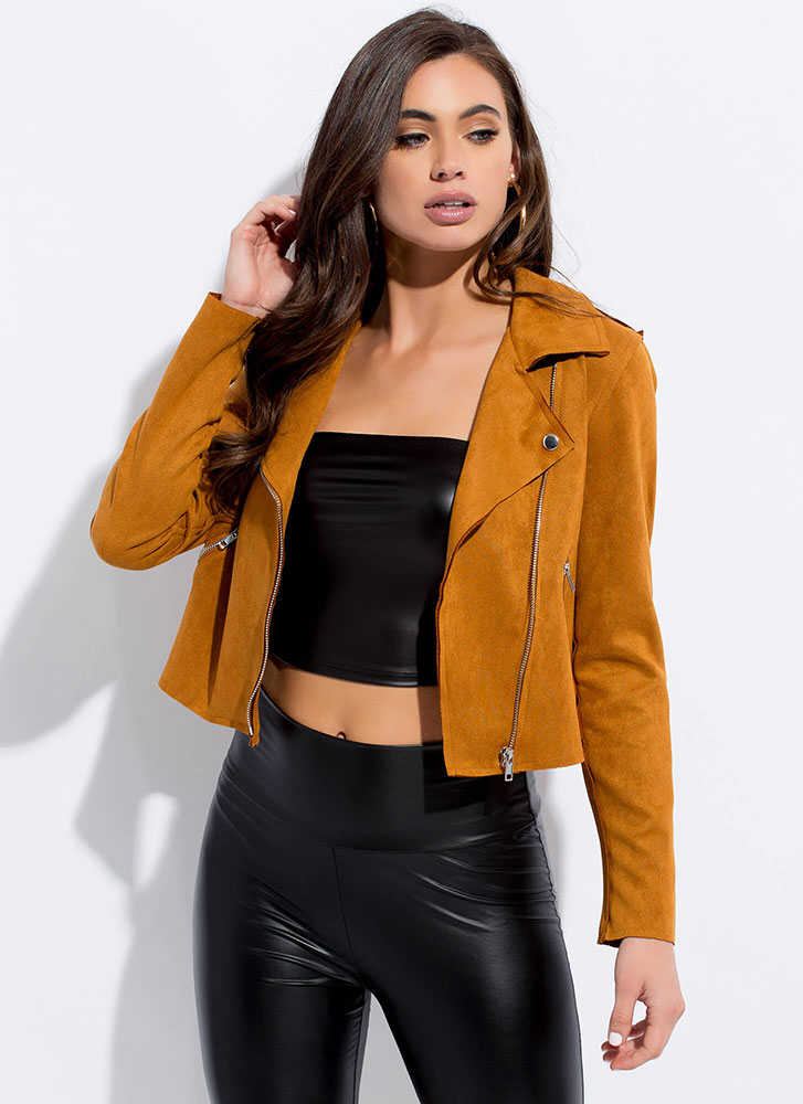 Warm And Cool Faux Suede Moto Jacket DKGOLD