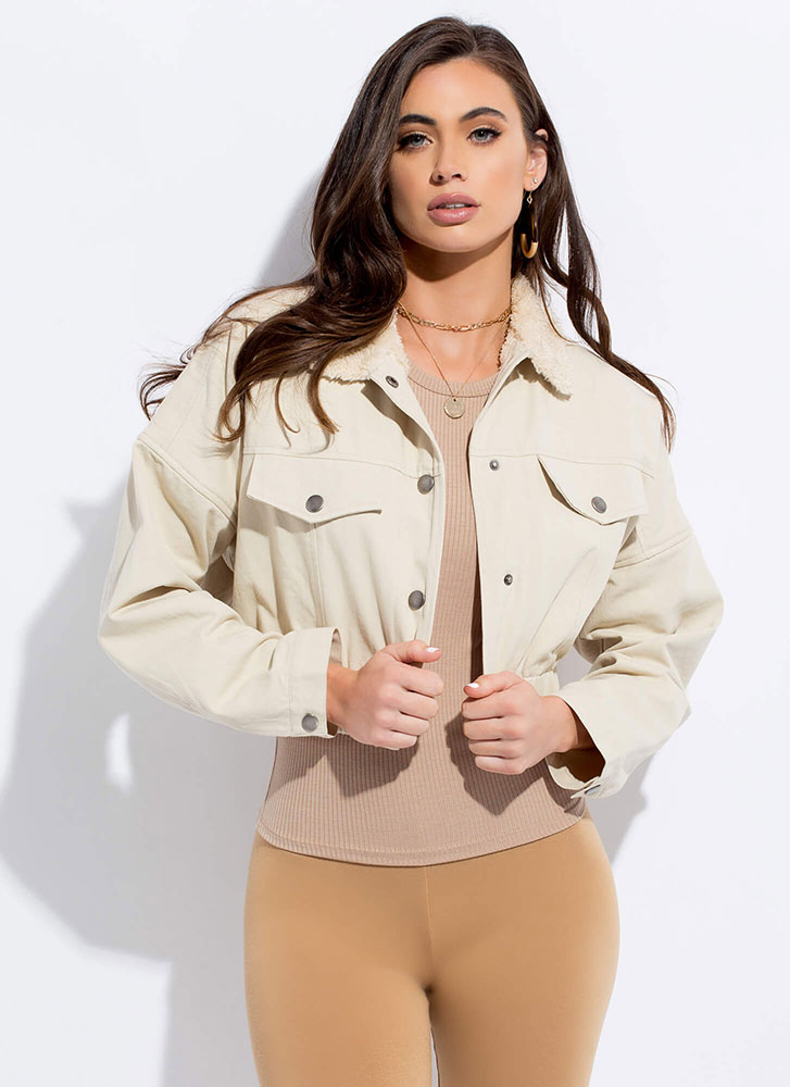 Fur Once Collared Cropped Jacket BEIGE
