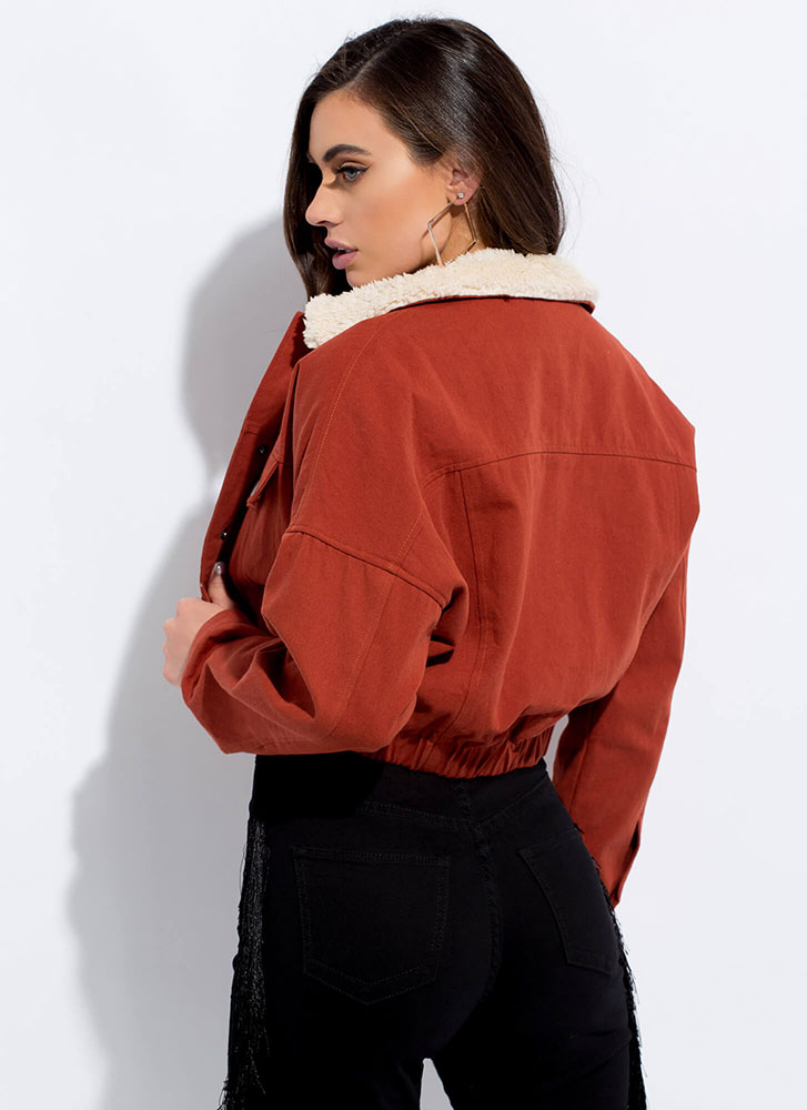 Fur Once Collared Cropped Jacket RUST