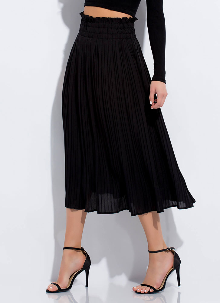 Twirl On Top Frilly Pleated Skirt BLACK
