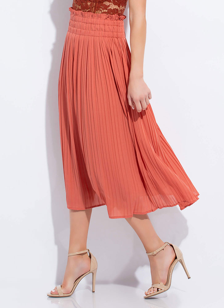 Twirl On Top Frilly Pleated Skirt PEACH